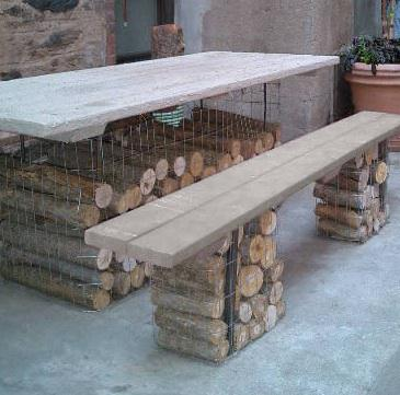 Muebles de jard n con troncos y piedras fundaci ilersis for Muebles con troncos
