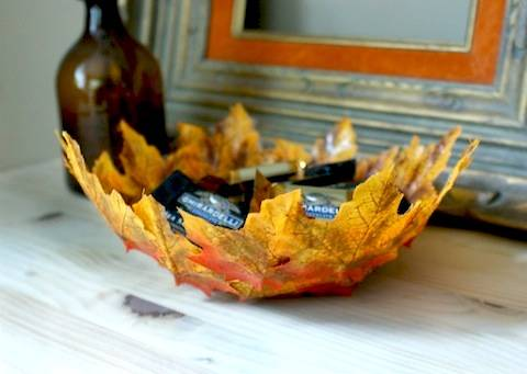 decoracin de otoo centro de mesa con hojas
