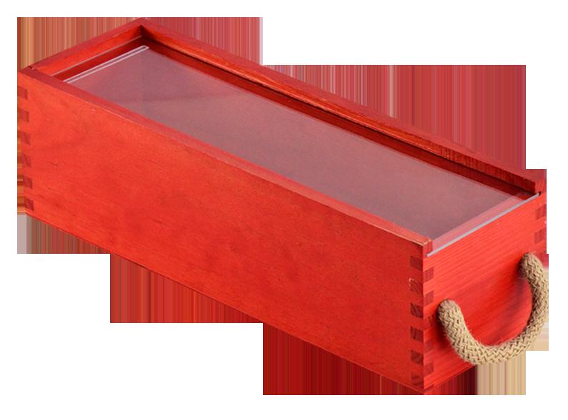 Caja roja 1 botella fundaci ilersis - Cajas de madera para botellas ...