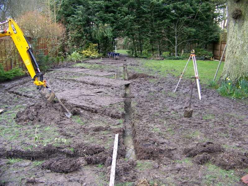 mejorar el drenaje del jardín, zanjas con forma espina de pescado