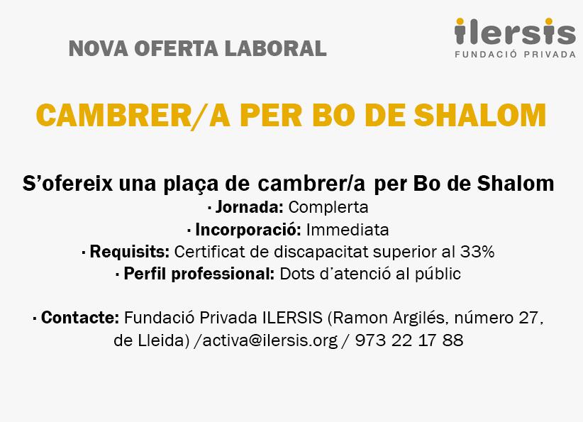 Nueva oferta laboral: Camarero/a para BO de Shalom