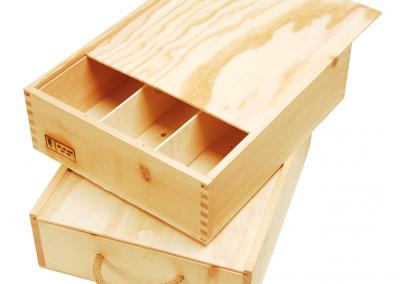 Caja mechada 3 botellas - Cajas de madera ILERSIS