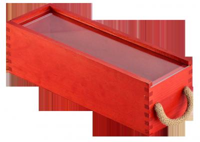 Caja roja 1 botella - Cajas de madera ILERSIS