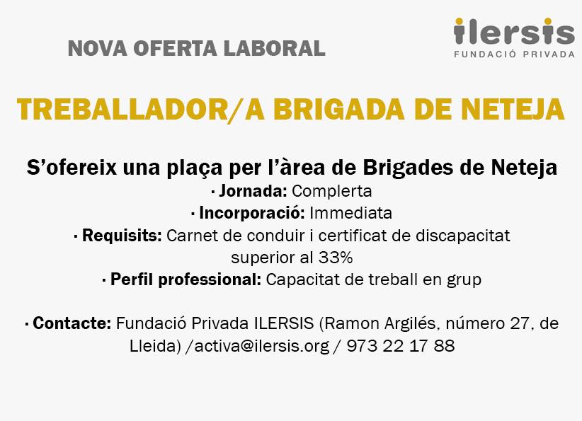 Nueva oferta laboral: Trabajador/a brigada de limpieza