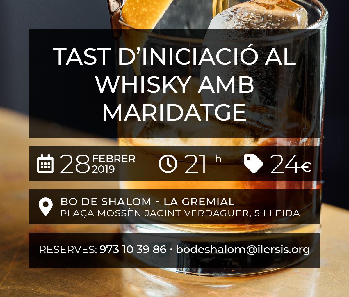 Tast d'iniciació al whisky amb maridatge